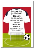 Soccer Jersey White, Red and Black - Birthday Party Petite Invitations