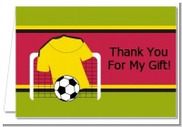 Soccer Jersey Yellow and Red - Birthday Party Thank You Cards