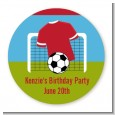 Soccer - Round Personalized Birthday Party Sticker Labels thumbnail