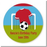 Soccer - Round Personalized Birthday Party Sticker Labels