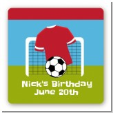 Soccer - Square Personalized Birthday Party Sticker Labels