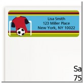 Soccer Jersey Red and Black - Birthday Party Return Address Labels