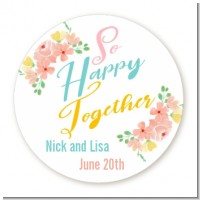 So Happy Together - Round Personalized Bridal Shower Sticker Labels