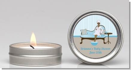 Spa Mom Blue African American - Baby Shower Candle Favors