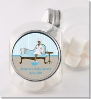 Spa Mom Blue African American - Personalized Baby Shower Candy Jar