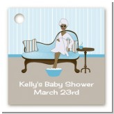 Spa Mom Blue African American - Personalized Baby Shower Card Stock Favor Tags