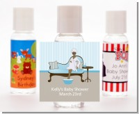 Spa Mom Blue African American - Personalized Baby Shower Hand Sanitizers Favors