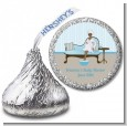 Spa Mom Blue African American - Hershey Kiss Baby Shower Sticker Labels thumbnail
