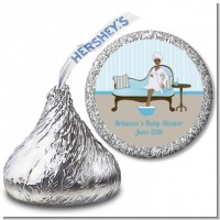 Spa Mom Blue African American - Hershey Kiss Baby Shower Sticker Labels