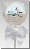 Spa Mom Blue African American - Personalized Baby Shower Lollipop Favors