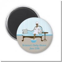 Spa Mom Blue African American - Personalized Baby Shower Magnet Favors