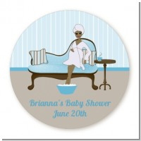 Spa Mom Blue African American - Round Personalized Baby Shower Sticker Labels