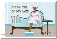 Spa Mom Blue African American - Baby Shower Thank You Cards