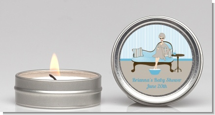 Spa Mom Blue - Baby Shower Candle Favors