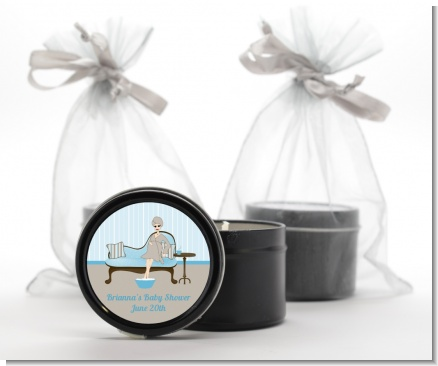 Spa Mom Blue - Baby Shower Black Candle Tin Favors