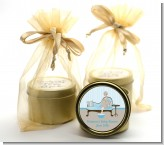 Spa Mom Blue - Baby Shower Gold Tin Candle Favors