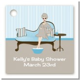 Spa Mom Blue - Personalized Baby Shower Card Stock Favor Tags