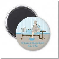 Spa Mom Blue - Personalized Baby Shower Magnet Favors