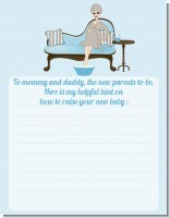 Spa Mom Blue - Baby Shower Notes of Advice
