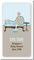Spa Mom Blue - Custom Rectangle Baby Shower Sticker/Labels