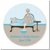 Spa Mom Blue - Round Personalized Baby Shower Sticker Labels
