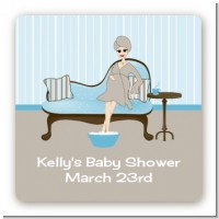 Spa Mom Blue - Square Personalized Baby Shower Sticker Labels
