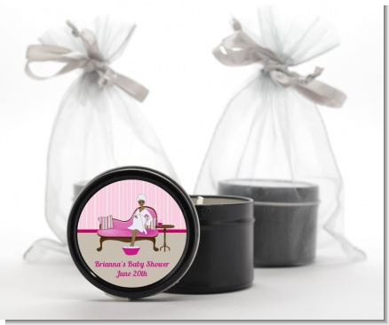 Spa Mom Pink African American - Baby Shower Black Candle Tin Favors