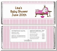 Spa Mom Pink African American - Personalized Baby Shower Candy Bar Wrappers