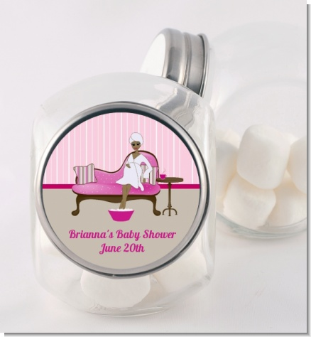 Spa Mom Pink African American - Personalized Baby Shower Candy Jar