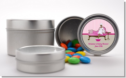 Spa Mom Pink African American - Custom Baby Shower Favor Tins