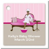 Spa Mom Pink African American - Personalized Baby Shower Card Stock Favor Tags