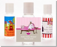 Spa Mom Pink African American - Personalized Baby Shower Hand Sanitizers Favors