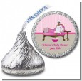 Spa Mom Pink African American - Hershey Kiss Baby Shower Sticker Labels thumbnail