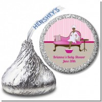 Spa Mom Pink African American - Hershey Kiss Baby Shower Sticker Labels