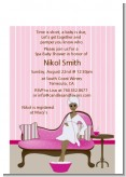 Spa Mom Pink African American - Baby Shower Petite Invitations