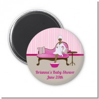 Spa Mom Pink African American - Personalized Baby Shower Magnet Favors