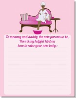 Spa Mom Pink African American - Baby Shower Notes of Advice