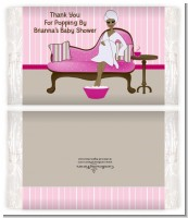 Spa Mom Pink African American - Personalized Popcorn Wrapper Baby Shower Favors