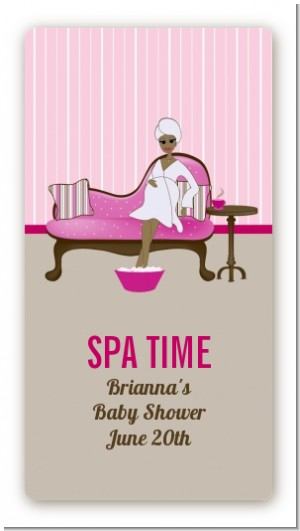 Spa Mom Pink African American - Custom Rectangle Baby Shower Sticker/Labels