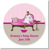 Spa Mom Pink African American - Round Personalized Baby Shower Sticker Labels