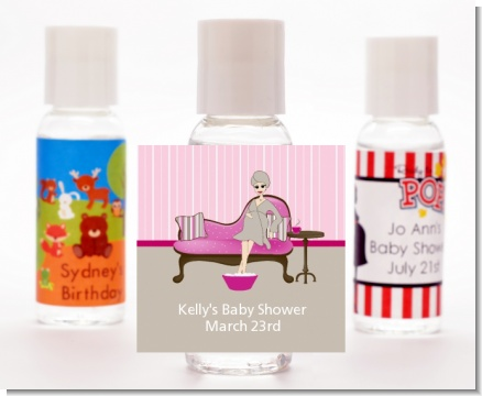 Spa Mom Pink - Personalized Baby Shower Hand Sanitizers Favors