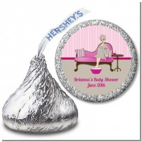 Spa Mom Pink - Hershey Kiss Baby Shower Sticker Labels
