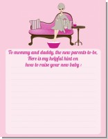 Spa Mom Pink - Baby Shower Notes of Advice