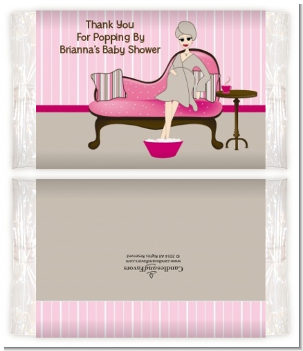 Spa Mom Pink - Personalized Popcorn Wrapper Baby Shower Favors