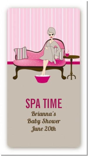 Spa Mom Pink - Custom Rectangle Baby Shower Sticker/Labels
