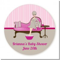 Spa Mom Pink - Round Personalized Baby Shower Sticker Labels
