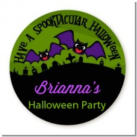 Spooky Bats - Round Personalized Halloween Sticker Labels
