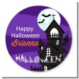 Spooky Haunted House - Round Personalized Halloween Sticker Labels thumbnail
