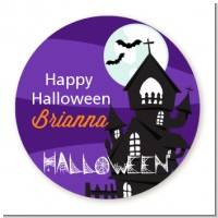 Spooky Haunted House - Round Personalized Halloween Sticker Labels