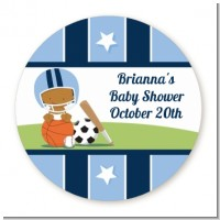 Sports Baby African American - Round Personalized Baby Shower Sticker Labels